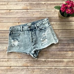 Forever 21 Acid Wash Distressed Denim Shorts 29 A8